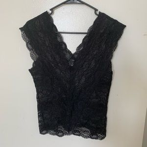 H&M Black Lace Sleeveless Top Size S